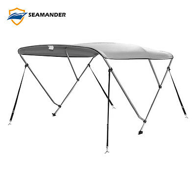 """3Bow Bimini Boat Top Cover with storage boot, Color Gray, 6'L x 46""""H x61""""-66""""W"""