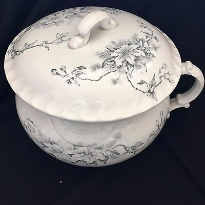 Antique Meakin? Ironstone Made in England Transferware Chamber Pot & Lid