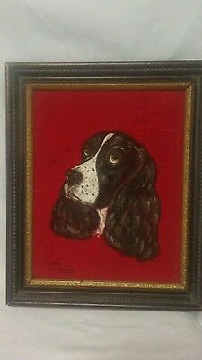 Vintage Springer Spaniel Painting On Velvet