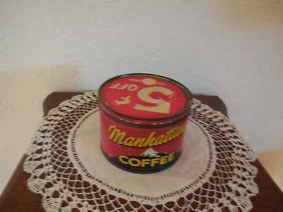 Vintage Manhattan Coffee St. Louis 1 lb Tin Can with Lid