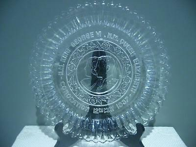 Vintage King George Vi Coronation Embossed Glass Plate - May 12 1937 - Gc