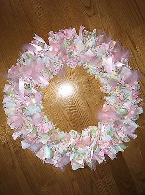Baby Girl's Wreath - Handmade Baby Shower Nursery Pink Green White Blue Fabric