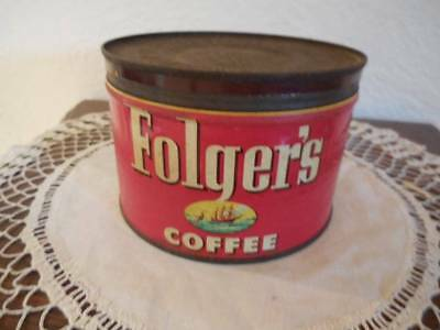 Vintage Folger's Coffee 1 lb Tin Can with Lid
