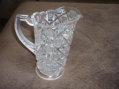 Gorgeous Pressed Clear Glass Pitcher/ Block Design