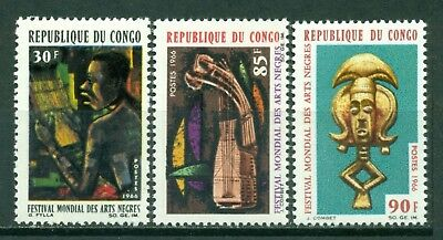 Congo People's Republic Scott 137-139 MNH Indigenous Art CV$4+