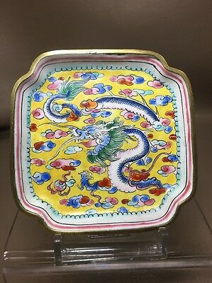 Small Antique Enameled Brass Cloisonne Tray Hand Painted Marked CHINA DRAGON