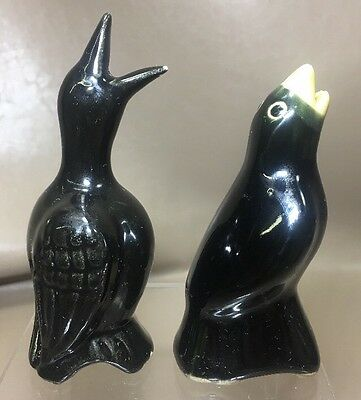 2 PIE BIRD VENT FUNNEL VINTAGE BLACK CROWS One With Yellow beak