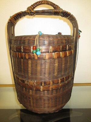 """17"""" Antique Chinese Lunch Box / Wedding Basket / Sewing Box W/beads & Coins Nr"""