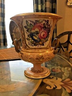 Antique French Old Paris Porcelain Vase Urn with Flowers Really Nice!!!