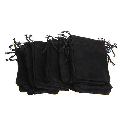 25/Set Black Velvet Drawstring Jewelry Gift Bags Pouches Wedding Party 90*70MM