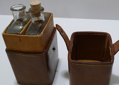 Rare Vintage/Antique Leather Travel Liquor Flasks/Bar Set - Two Glass Bottles