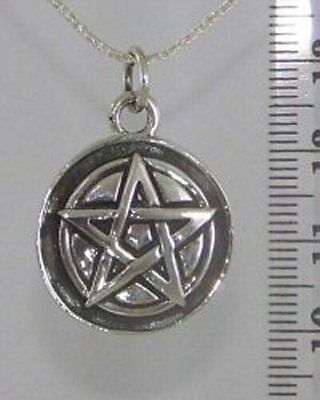 Pentagram on Disc 925 Sterling Silver Witch Wicca Pagan