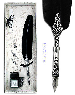 Deluxe BLACK Italian Feather QUILL Pen and Ink Holder Set with Nibs