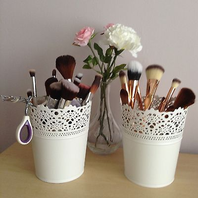 Make Up Brush Holder Pots White...Set Of 2 X Large FREE DELIVERY UK SELLER