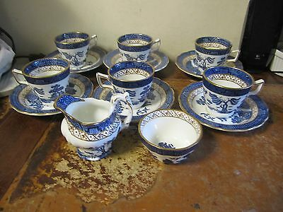 Booth Old Willow 6 Demi Tasse Cups & Saucers With Cream Jug & Sugar Bowl VGC