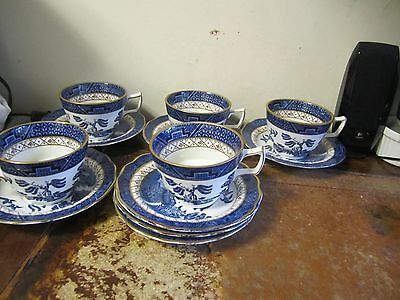 Booth Old Willow 5 Tea Cups & 7 Saucers VGC