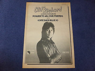 Cliff Richard Power To All Our Friends Full Page Newspaper Poster 1973