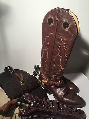 "Cowboy Stiefel True Vintage original Tony Lama 18"" Buckaroo Boot 8,5/41 brown"