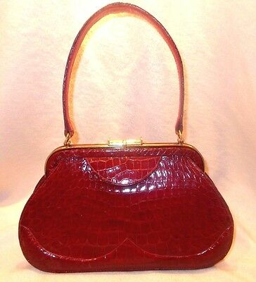 Vintage 1940's Saks of 5th ave crocodile handbag in fantastic red perfect
