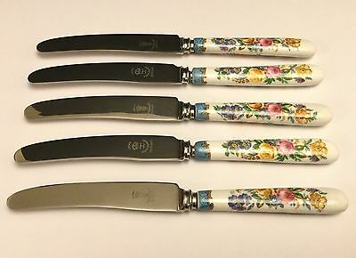 Crown Derby 7 1/2 inch Butter Cutlery Knives (5) with Floral Ceramic Handles