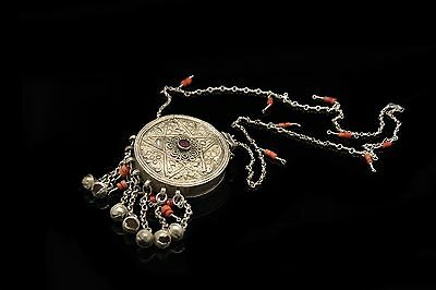 Antique  Silver Ottoman Islamic Amazing Coral Decorated Anatolian Necklase