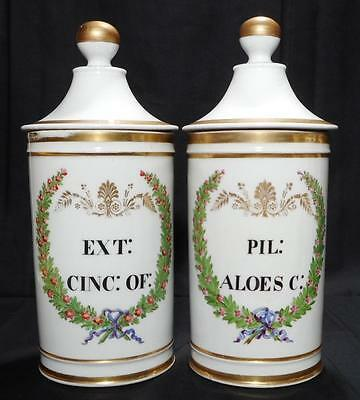 c.1860 Two Bayeux Porcelain Pharmacy Apothecary Jars - Stamped, extremely rare