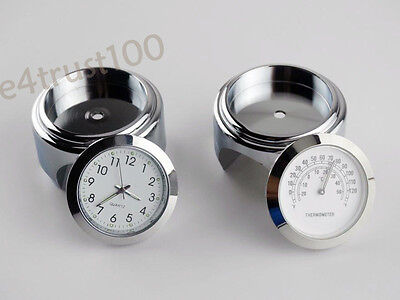 "Chrome Thermometer Temp+Clock Handlebar Dial Cruiser 7/8"" &1"" Bar For Harley HD"