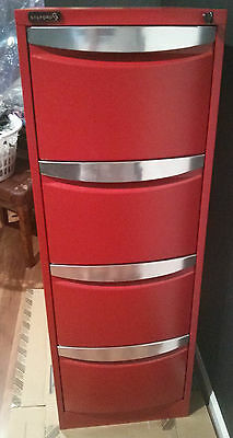 Stilford 4 Drawer Filing Cabinet Red Powdercoated Perfect Condition