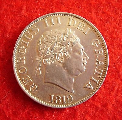 George  III ~ 1819 Silver Half Crown once gilded on obverse.