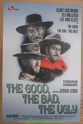 THE GOOD, THE BAD AND THE UGLY MOVIE POSTER Clint Eastwood REPRINT 27x40