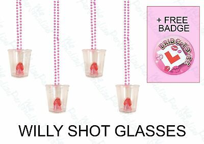 Hen Night Party Do WILLY SHOT GLASS Glasses Pink  FREE one bride to be Badge