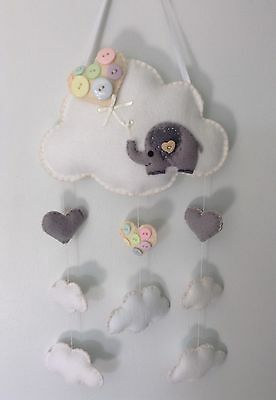 Handmade Felt Nursery Mobile Wall Decor Clouds Elephant Pastels.Baby Shower Gift