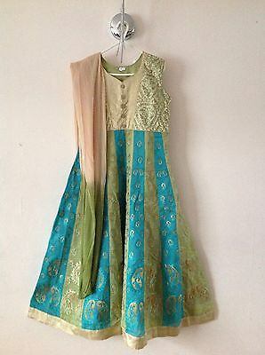 Indian Asian Pure Silk Multi Colour Party Wedding Anarkali Lehega Dress