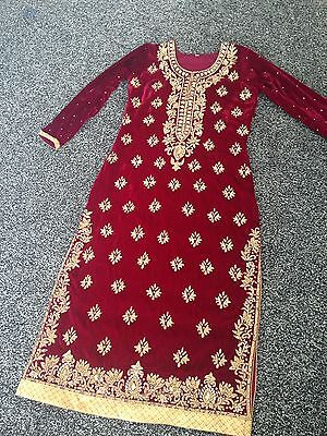 Maroon/gold Heavy Velvet Churidar Dress Size 38/40 Wedding/bridal 3 Available