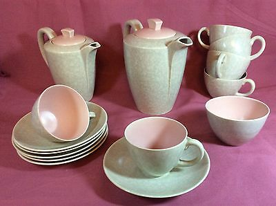 Vintage Coffee SET 1960's POOLE Pottery - Twintone Mottled Grey/Pink - 15 piece