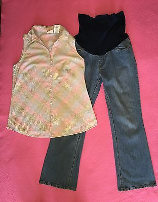2 piece MATERNITY Panel MOTHERHOOD PM Blue Jean Pants & M 8/10 Pastel Top Outfit