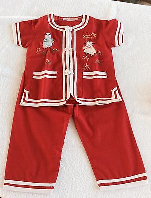 Children's Embroidered Chinese Pajamas Red Size 2