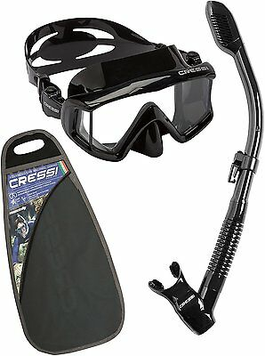 Cressi Pano 3 and Dry Snorkeling Combo Set -  Black