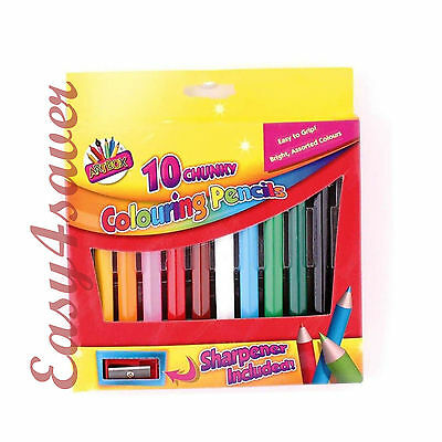 10 Chunky Colouring Pencils Bright Colours Easy Grip & Sharpener - 010847