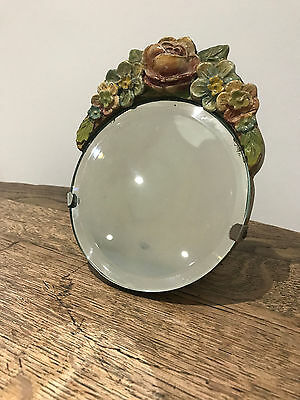 Vintage Barbola floral mirror with stand