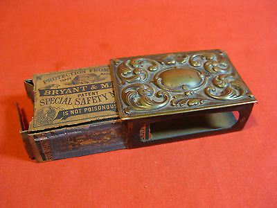 Antique Art Nouveau Brass Match Box Holder With Original Wooden Matchbox