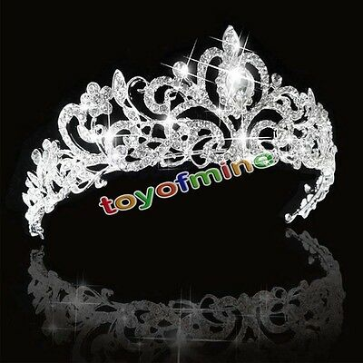 Princess Crystal Crown Bridal Tiara Jewelry Wedding Headband Adult & Flower Girl