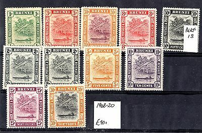 Brunei 1908/20 Collection of 11 Values Mint X6722