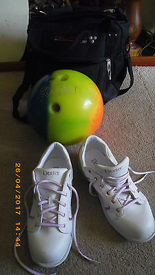 ladies zoom glow 3kg 6.5lb bowling ball dexter size 7.5 shoes & columbia 300 bag