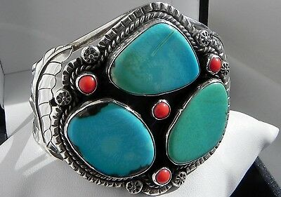 HUGE 54g Mexico Taxco Eagle 197 sterling silver 925 turquoise cuff bracelet