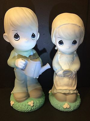 "Precious Moments 13""  Boy & Girl Yard Ornaments in Delicate Pastel Colors"