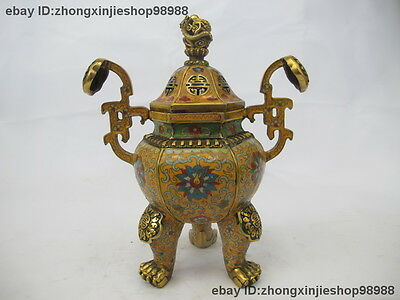 Chinese Royal Bronze Cloisonne Enamel Dragon Three legged incense burner Censer