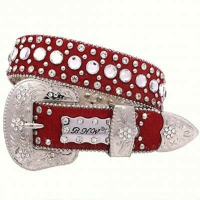 Western Girl's Kids Crystals Red Hair Genuine Exotic Leather Show Belt