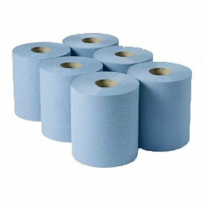 6 x Blue Large Workshop Hand Towels Rolls 2 Ply Centre feed Rolls Wipes
