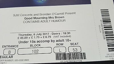 mrs browns boys tickets x 2 for o2 arena 6th july